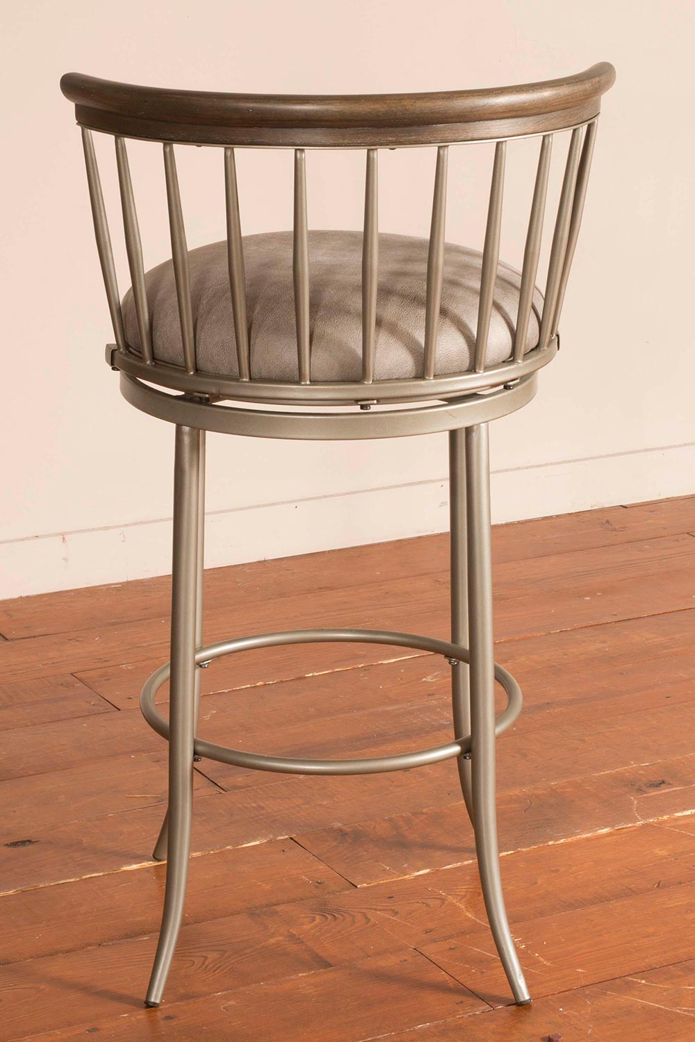 Hillsdale Cortez Swivel Counter Stool - Pewter/Espresso - Gray Faux Leather
