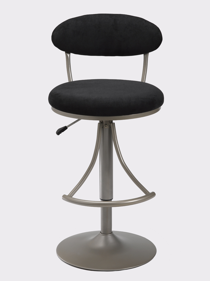 Hillsdale Venus Metal Swivel Bar Stool with Black Suede