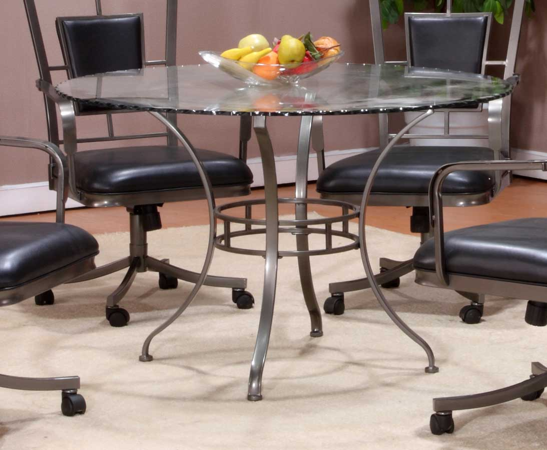 Hillsdale Auckland Round Glass Dining Table 4262 810 815
