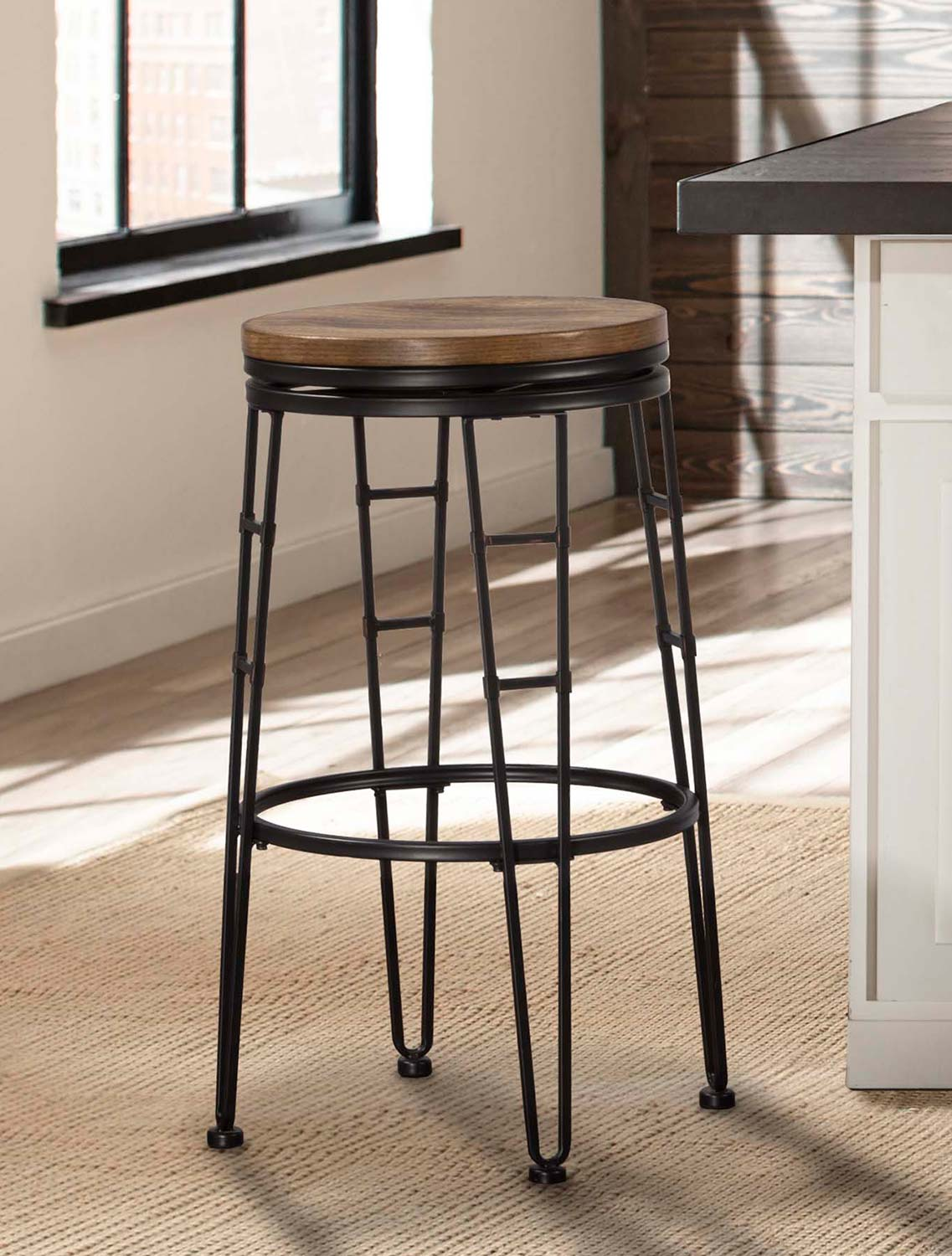 Hillsdale northpark backless swivel bar stool chestnut