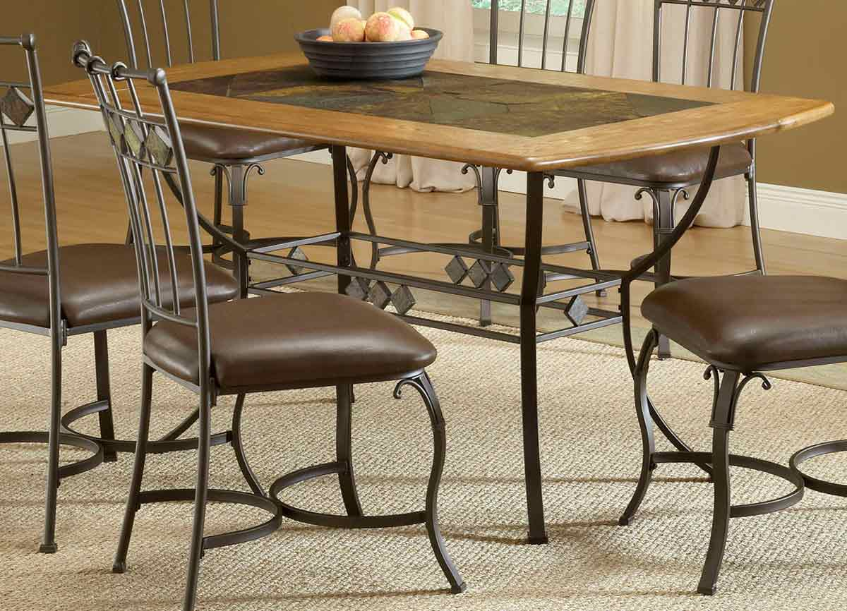 hillsdale lakeview rectangle dining set with slate chair 4264dtbrtcs7