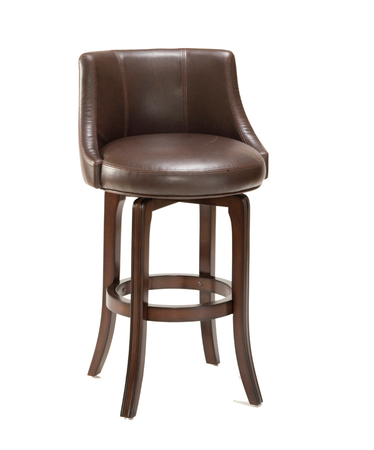 Hillsdale napa valley swivel bar stool brown leather for Furniture 4 less napa