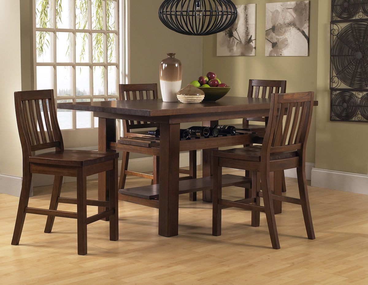 Hilale Outback 5 Piece Counter Height Dining Set Distressed Chestnut