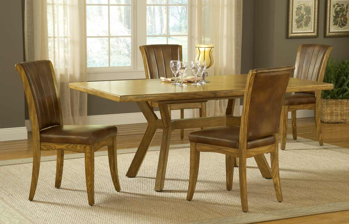Hillsdale Grand Bay Rectangle Dining Set with Caster Chair - Oak ...