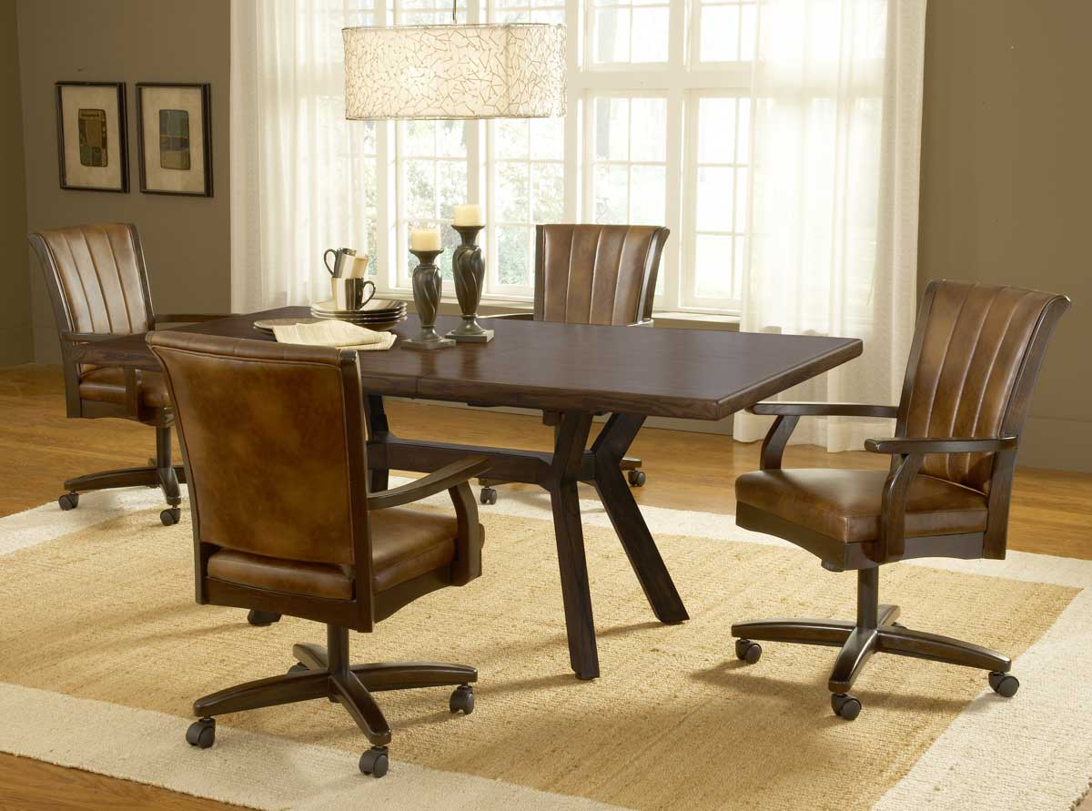 hillsdale grand bay rectangle dining set with caster chair cherry - Dining Room Table And Chairs With Wheels