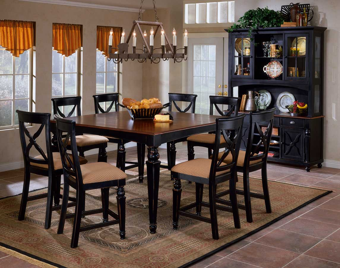 Hillsdale northern heights counter height dining table for Black dining room table set