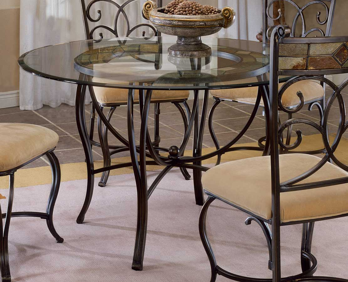 Hillsdale pompei metal dining table with slate top 4442 for Steel dining table design
