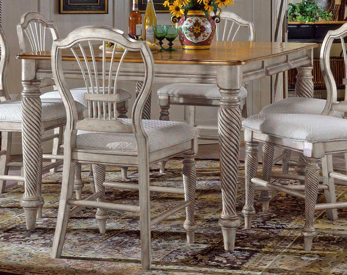 Hillsdale wilshire counter height gathering table antique white 4508 818 - Dining room table prices ...