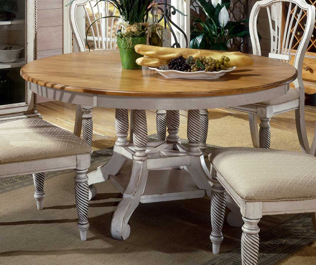 Ordinaire Hillsdale Wilshire Round Oval Dining Table   Antique White