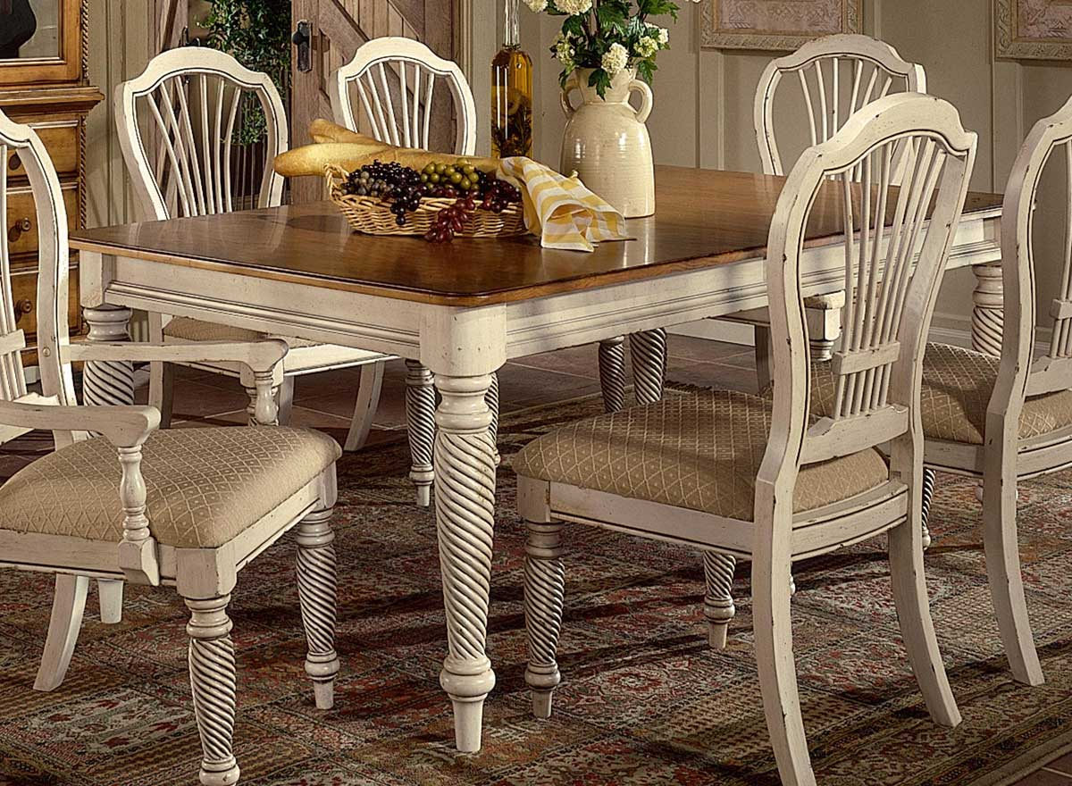 Hillsdale wilshire rectangular dining table antique for White kitchen dining chairs