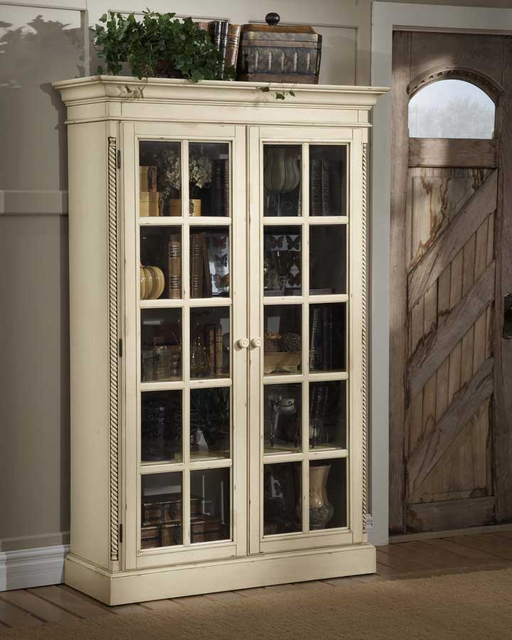Hillsdale Wilshire Large Library Cabinet   Antique White