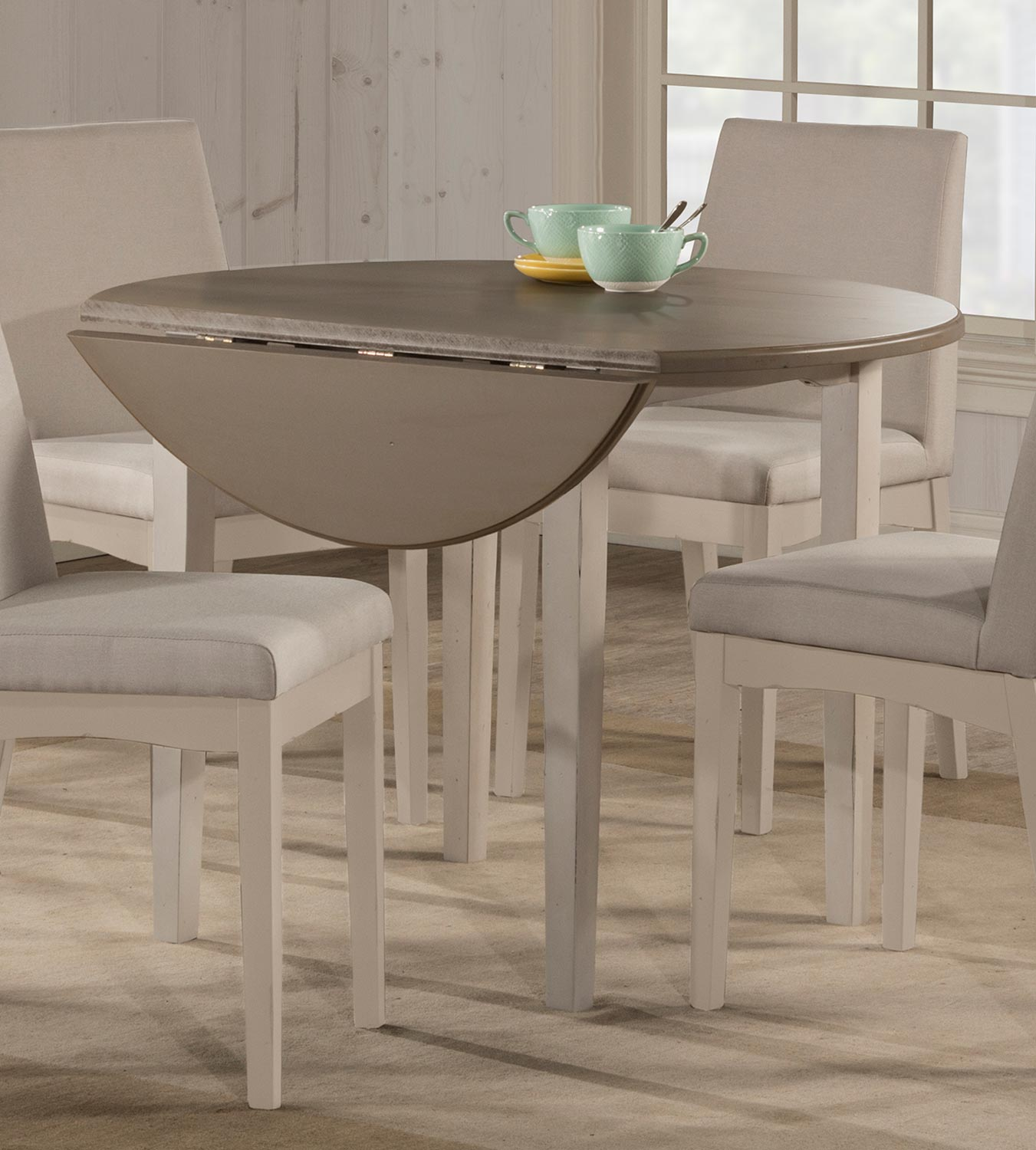 Hillsdale Clarion Round Drop Leaf Dining Table - Gray/White
