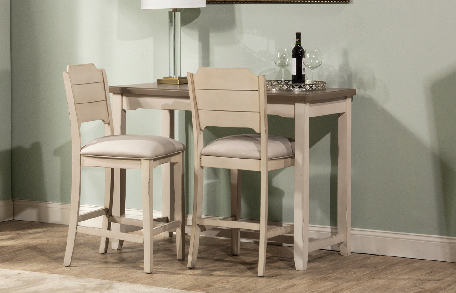 Hillsdale Clarion 3-Piece Counter Height Dining Set - Gray/White - Fog Fabric