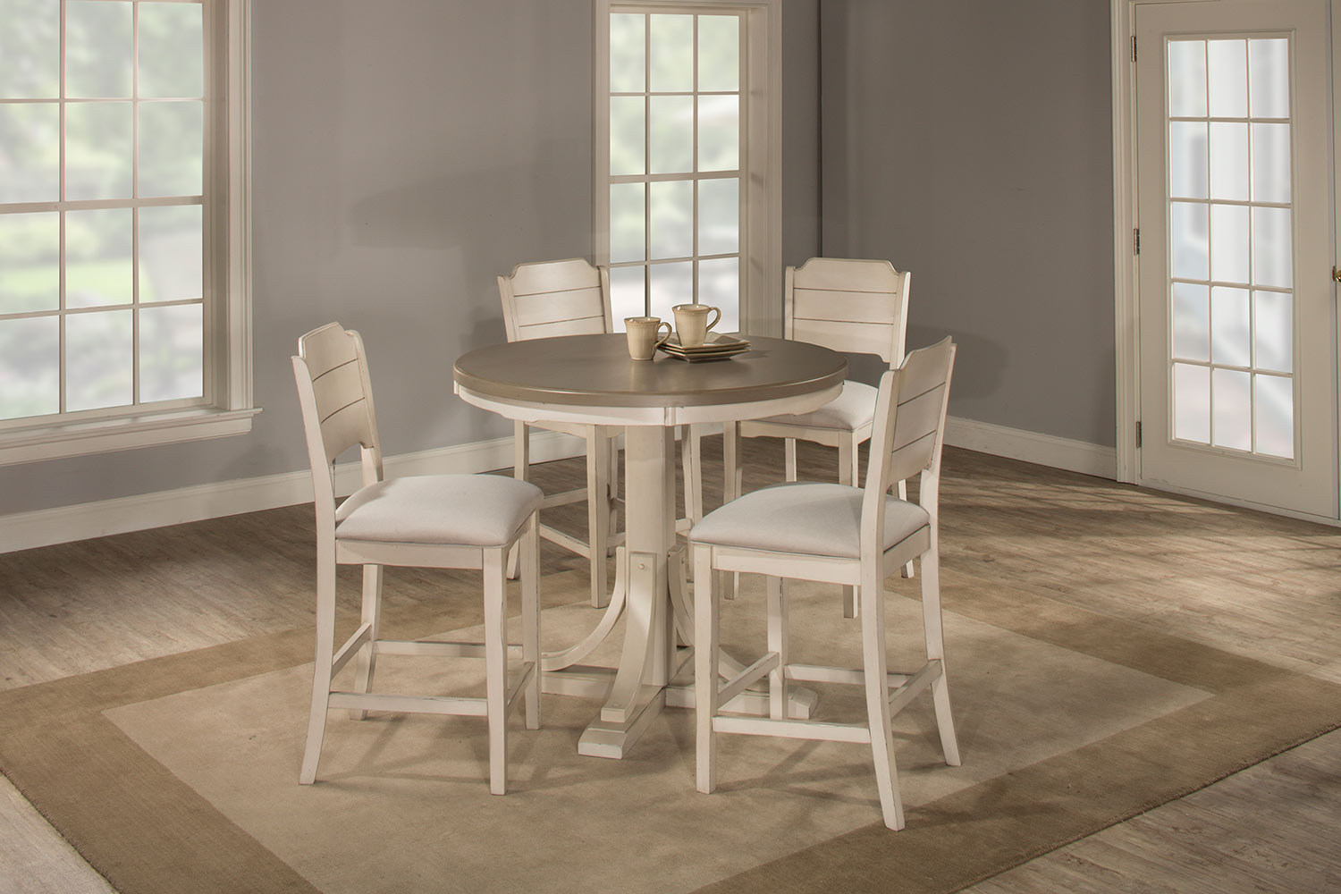 Hillsdale Clarion 5 Piece Round Counter Height Dining Set With Open Back  Stools   Gray