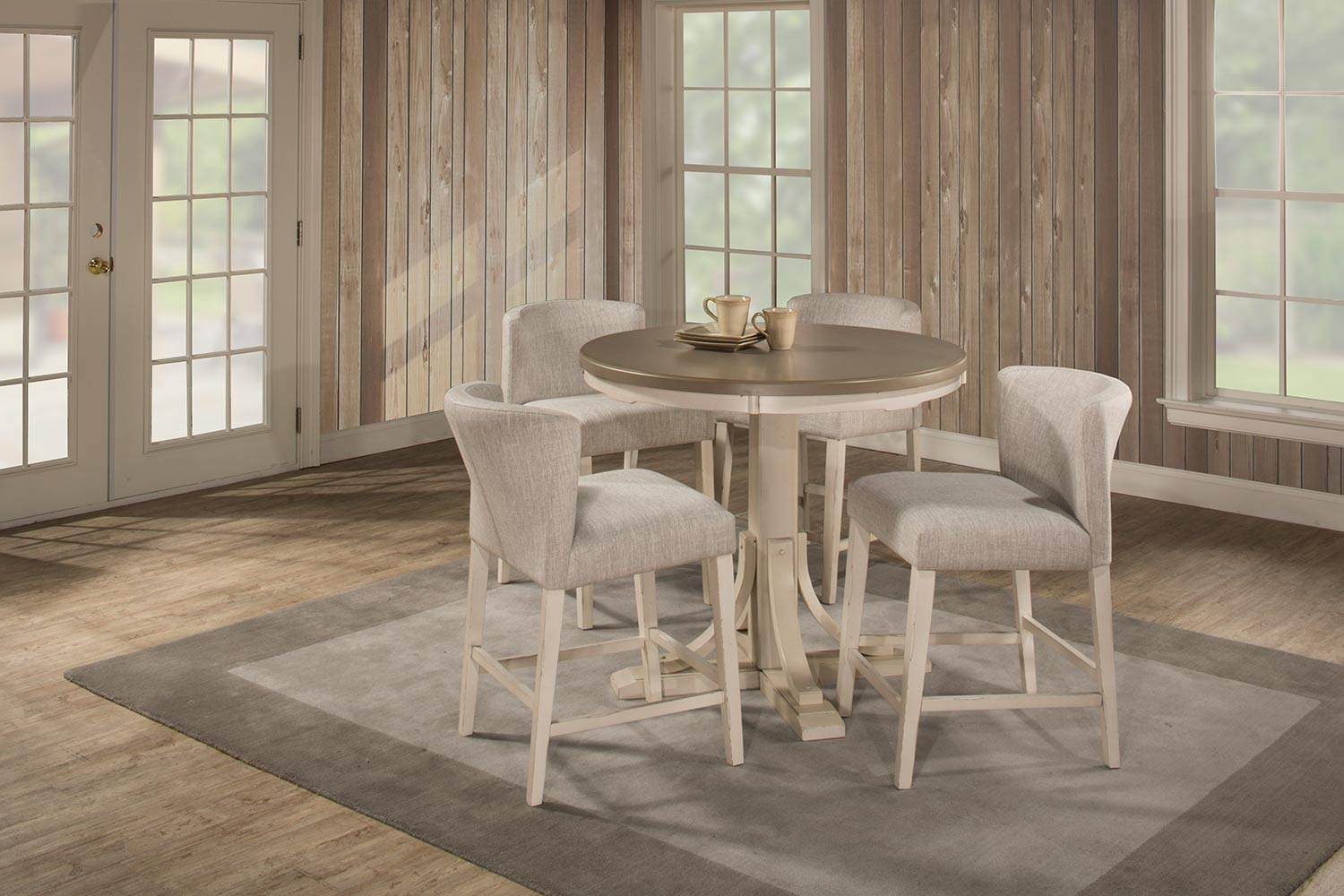 Hillsdale Clarion 5 Piece Round Counter Height Dining Set With Wing Arm  Stools   Gray