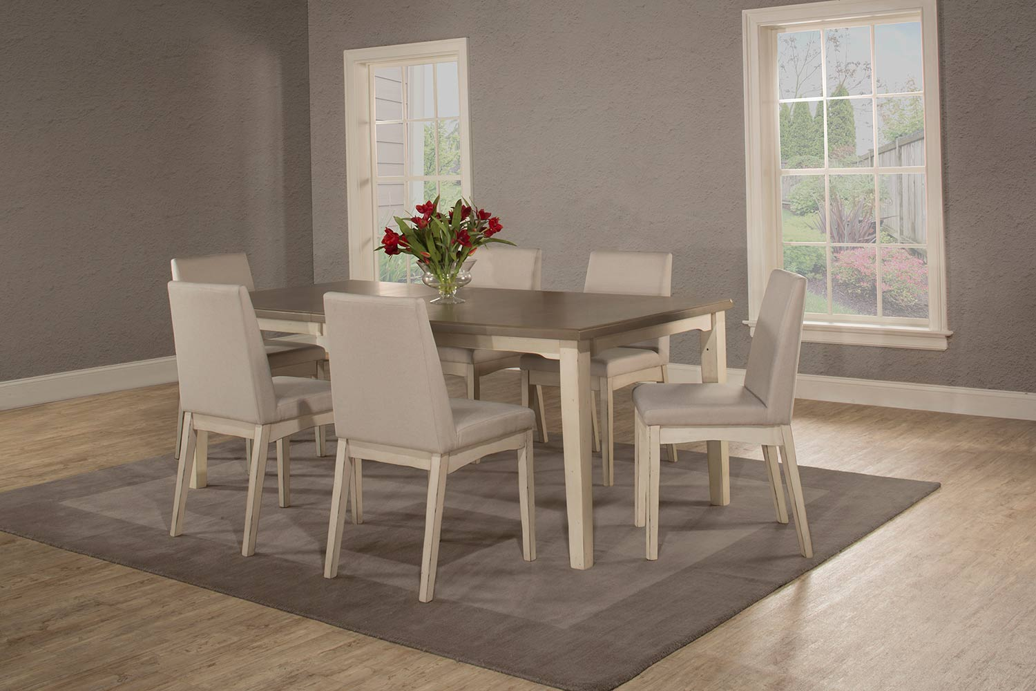 Hillsdale Clarion 7-Piece Rectangle Dining Set with Upholsted Chairs - Sea White - Fog Fabric