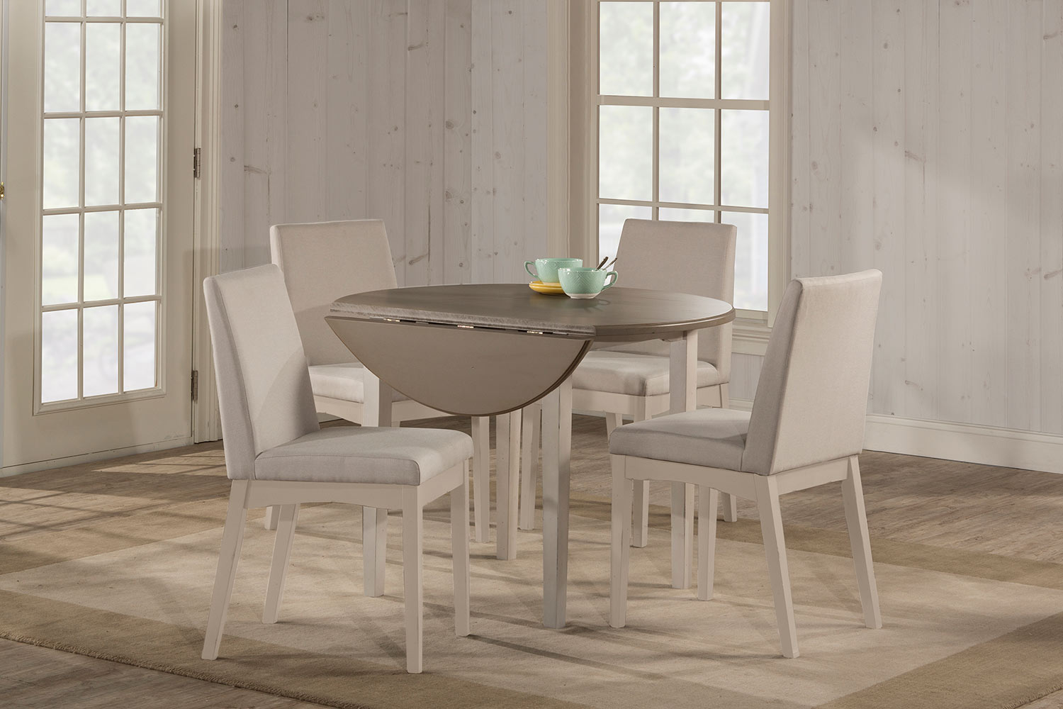 Hillsdale Clarion 5-Piece Round Dining Set with Upholstered Chairs - Sea White - Fog Fabric