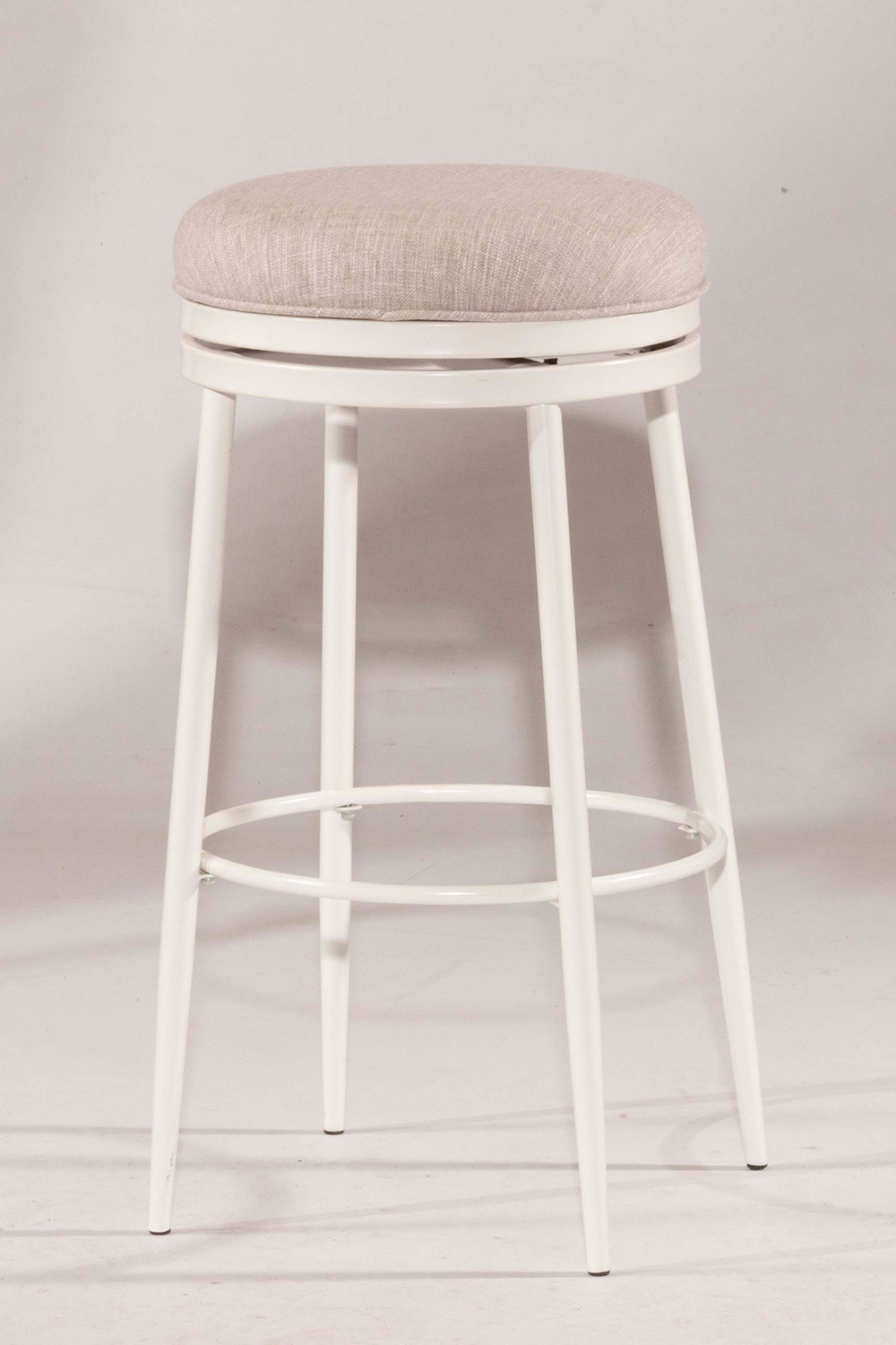 Hillsdale Aubrie Swivel Backless Bar Stool - White - Silver Fabric