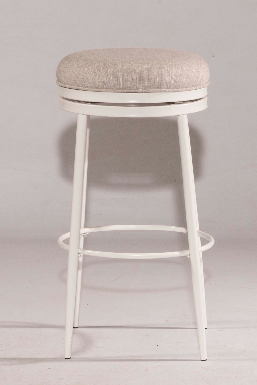 Hilale Aubrie Swivel Backless Counter Stool White Silver Fabric