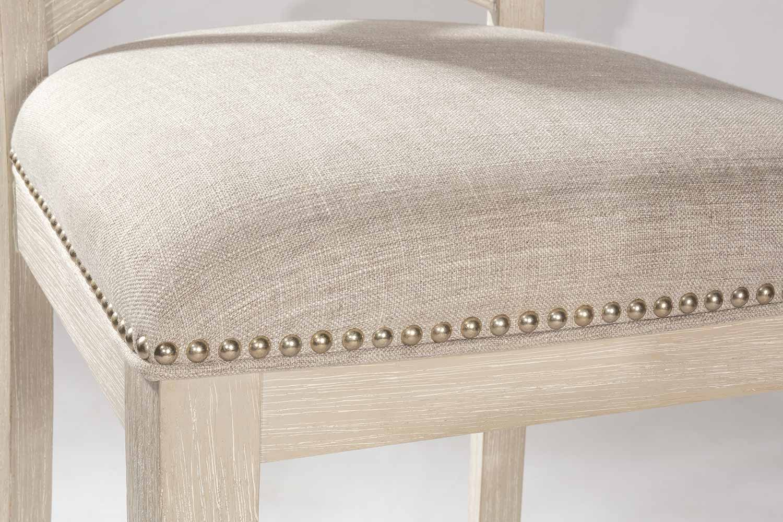 Hillsdale Bayview Non-Swivel Counter Stool - White Wirebrush - Silver Fabric