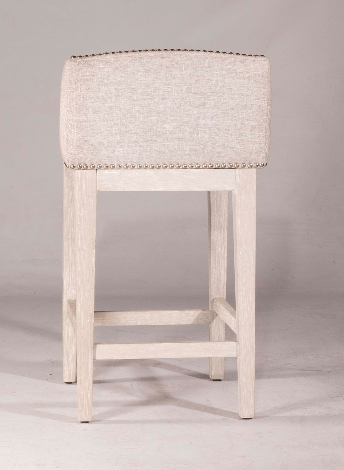 Hillsdale Bronn Non-Swivel Counter Stool - White Wirebrush - Silver Fabric