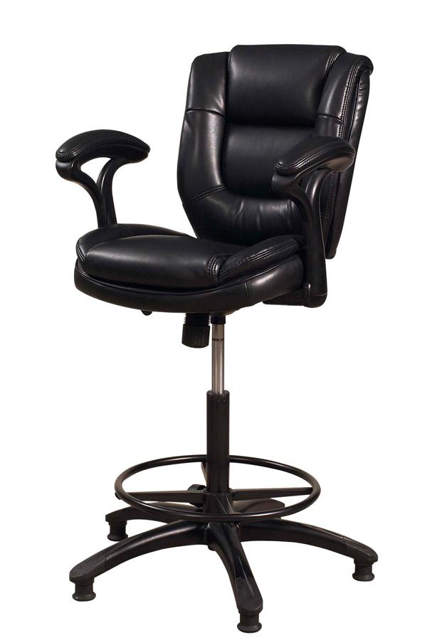 Hillsdale Dawson Upholstered Adjustable Back Stool Black