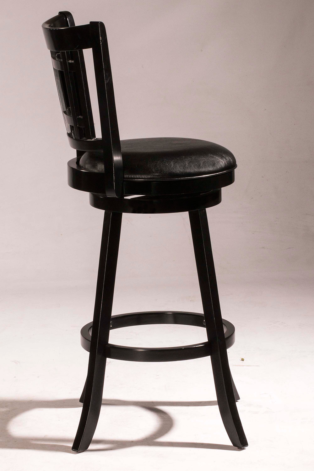 Hillsdale Fairfox Swivel Bar Stool - Black Faux Leather