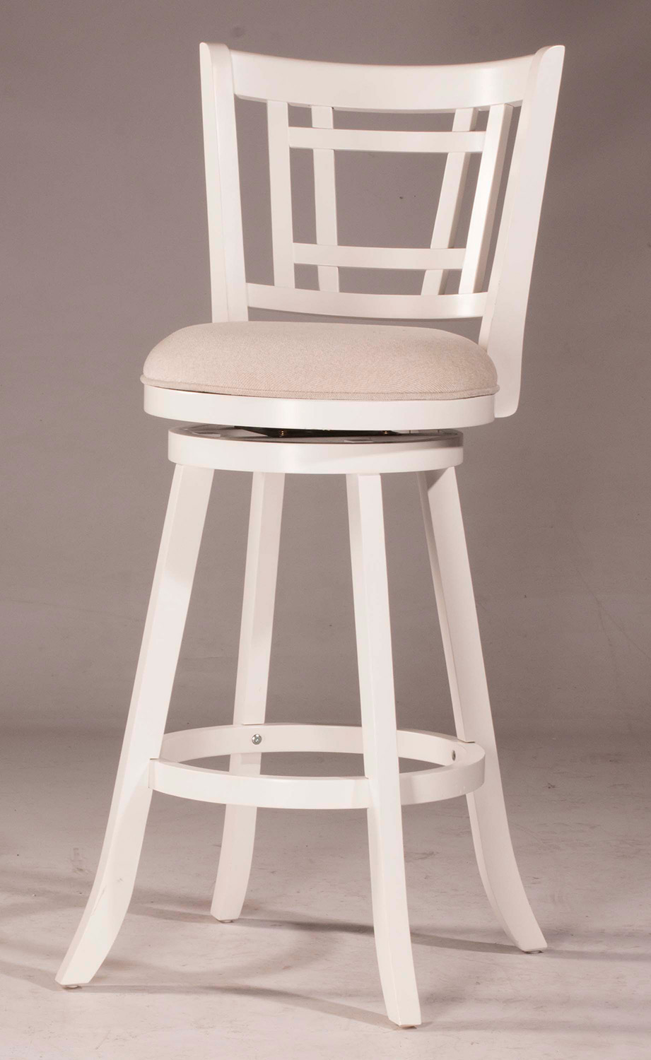 Hillsdale Fairfox Swivel Counter Stool - White - Ecru Fabric