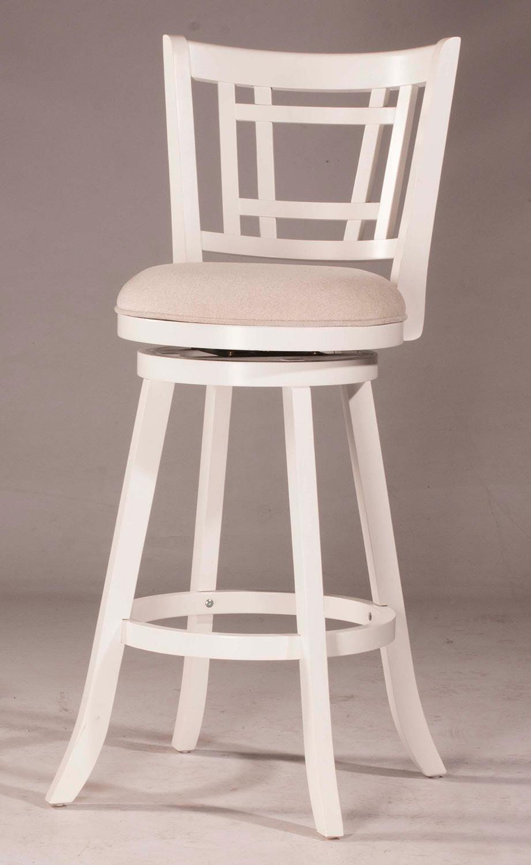 Hillsdale Fairfox Swivel Bar Stool - White - Ecru Fabric