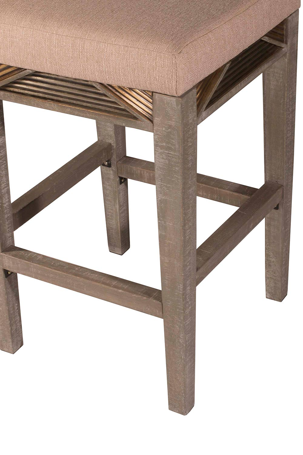 Hillsdale Bayshore Non-Swivel Backless Counter Stool - Graywash - Oyster Fabric