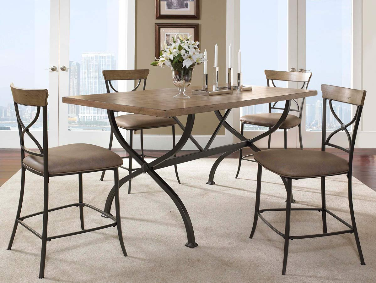 Hillsdale Charleston Rectangular Counter Height Dining Set With X Back Stool