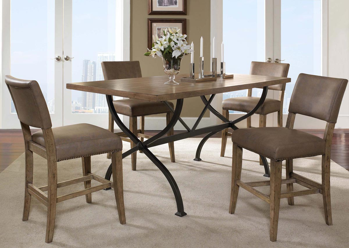 Hillsdale Charleston Rectangular Counter Height Dining Set With Parson Stool