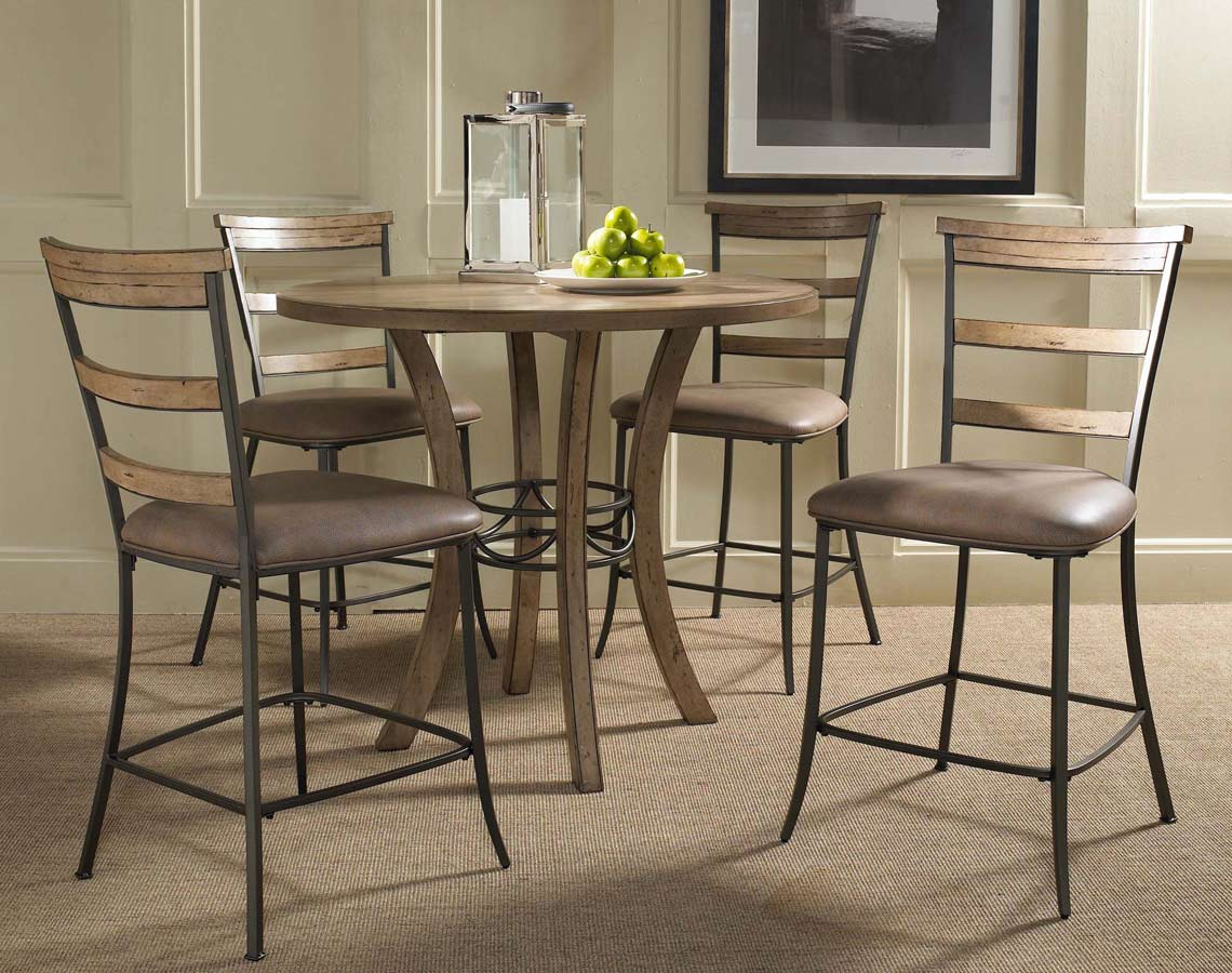 Hilale Charleston Round Counter Height Dining Set With Ladder Back Stool