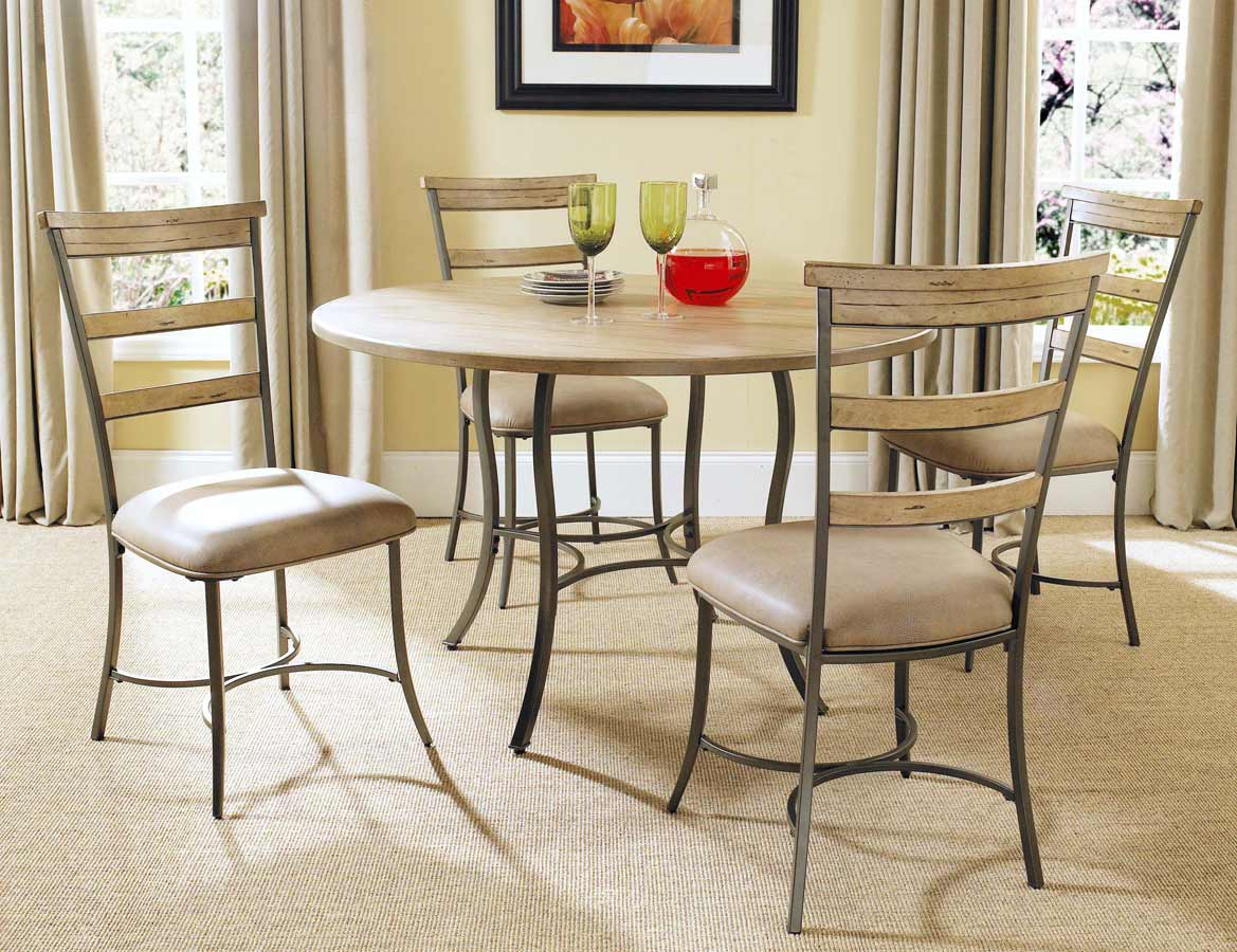 Hillsdale Charleston Round Dining Set With Ladder Back Dining Chair
