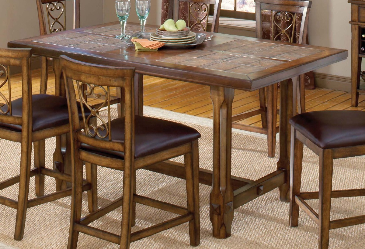 Hillsdale Villagio Trestle Counter Height Dining Table   Dark Chestnut