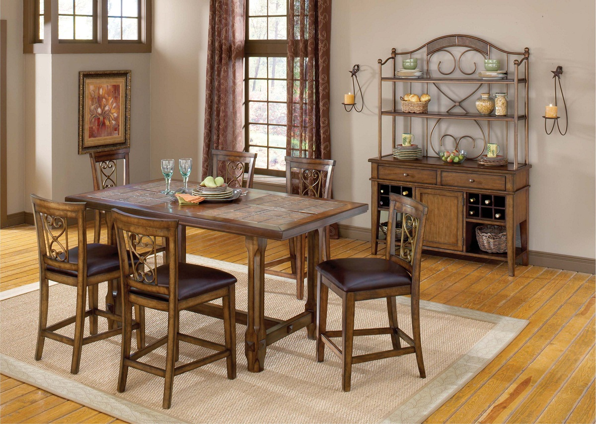 Hillsdale Villagio 7-Piece Counter Dining Set - Dark Chestnut