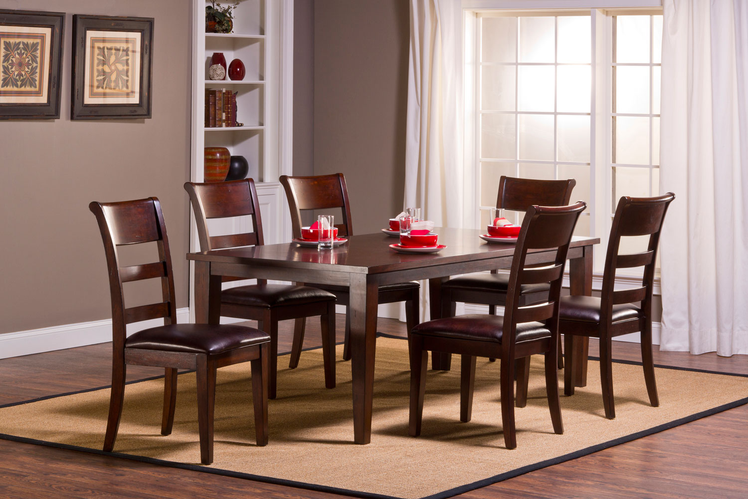 Hillsdale Park Avenue 7 piece Dining Set with Leg Table - Dark Cherry