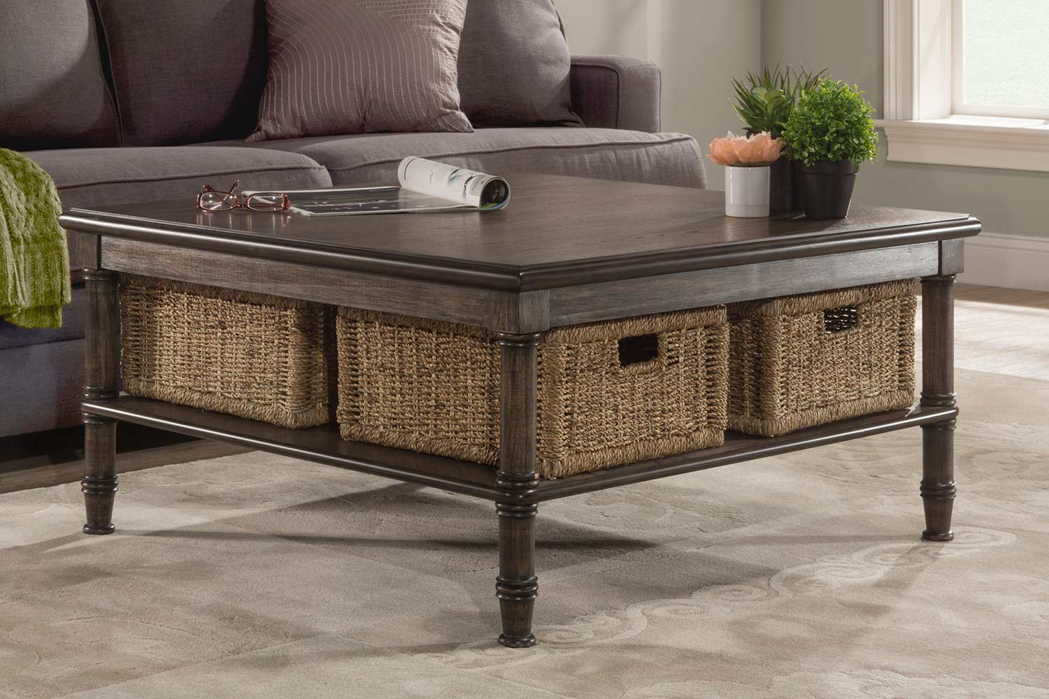 - Hillsdale Seneca Coffee Table With 4 Baskets - Walnut/Natural