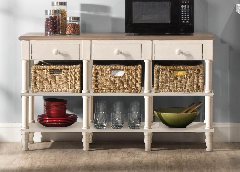 Hilale Seneca 3 Drawers Sofa Table With Baskets Driftwood Sea White