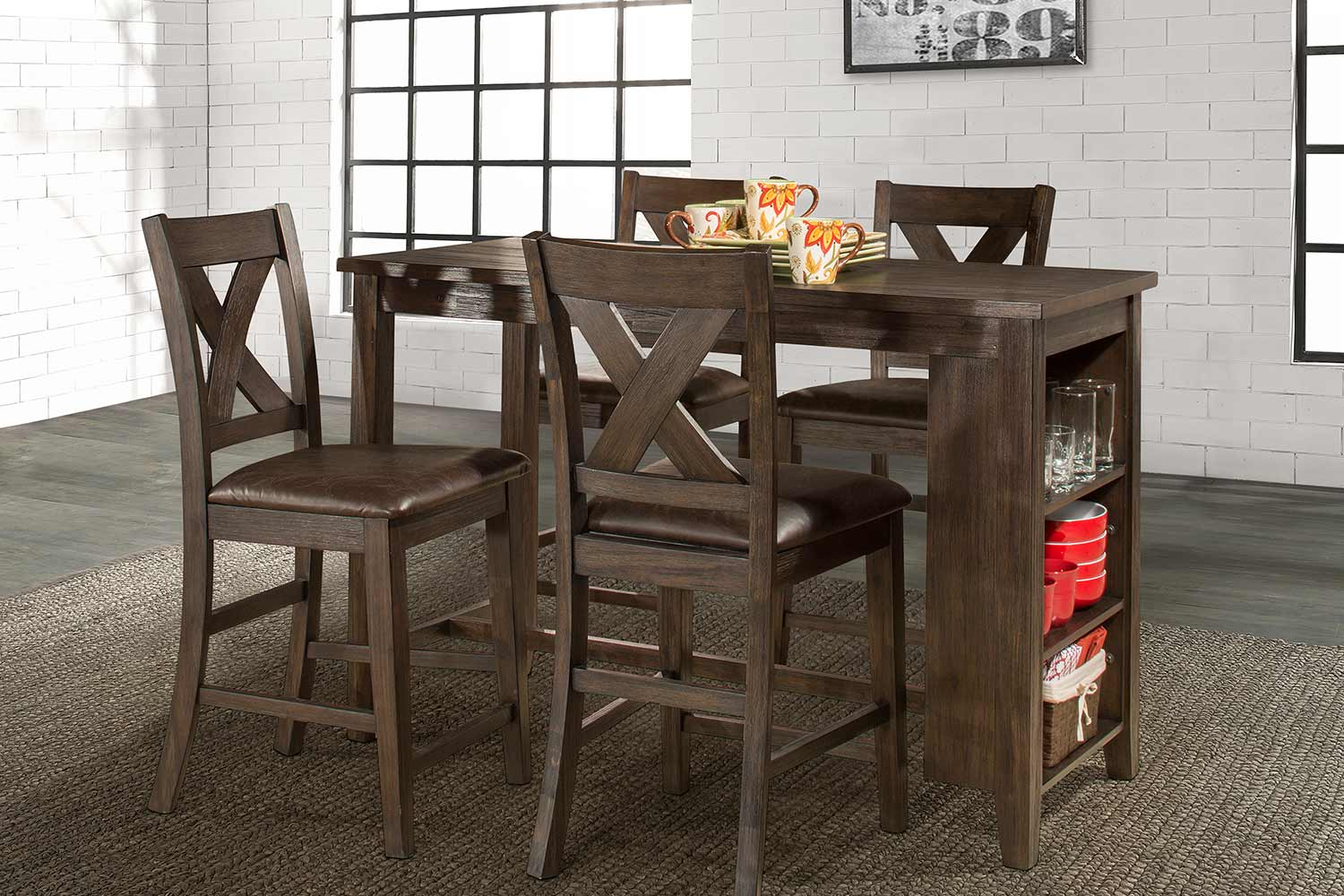 Hillsdale Spencer 5 Piece Counter Height Dining Set With X Back Counter  Height Stools