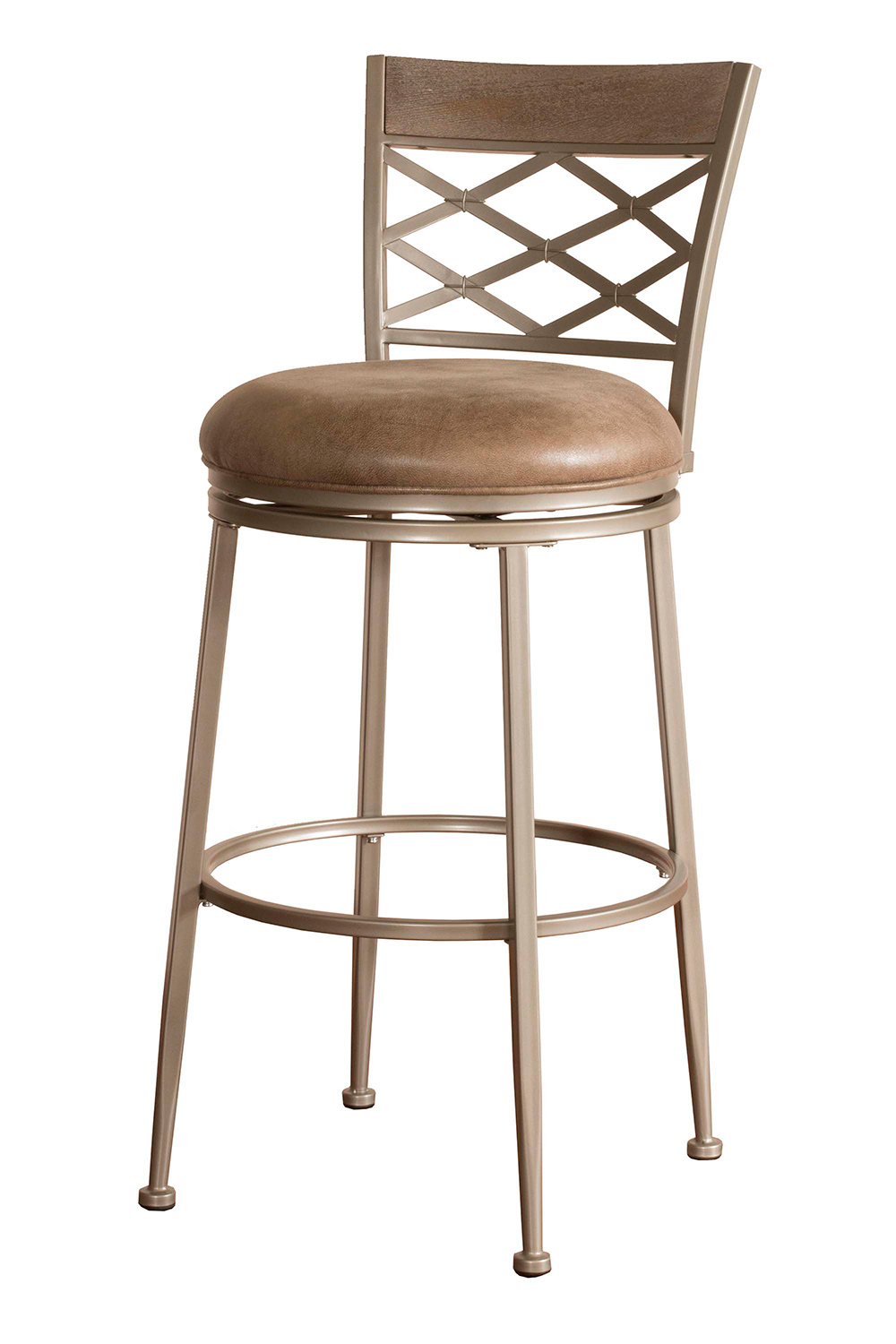 Hillsdale Hutchinson Swivel Bar Stool - Pewter - Aged Ivory Fabric