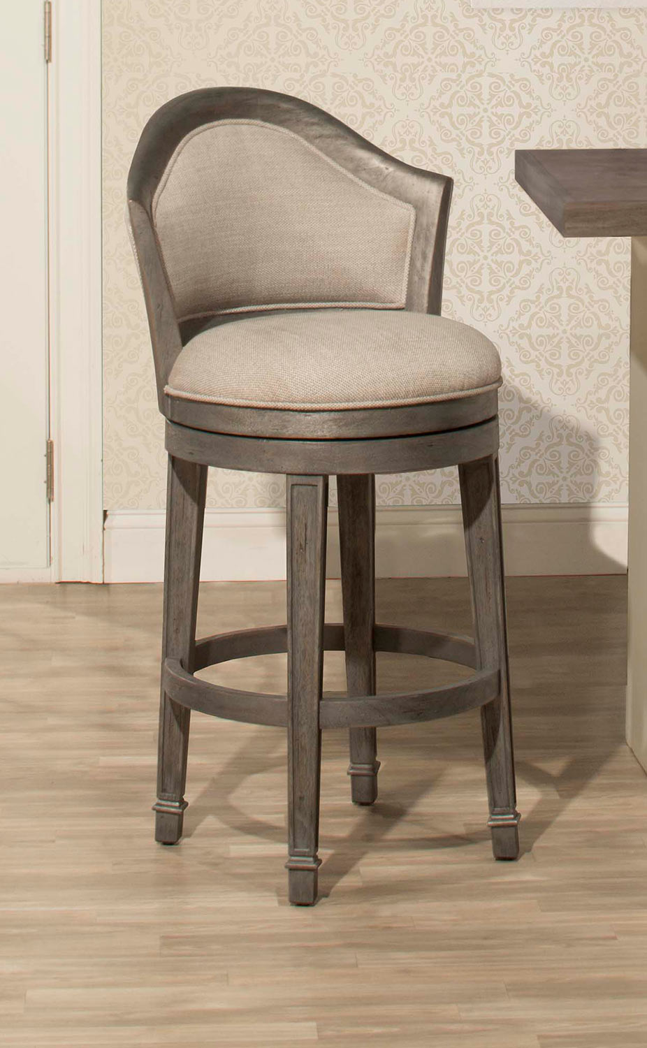 Hillsdale Monae Swivel Counter Stool - Dark Gray - Woven Gray Fabric