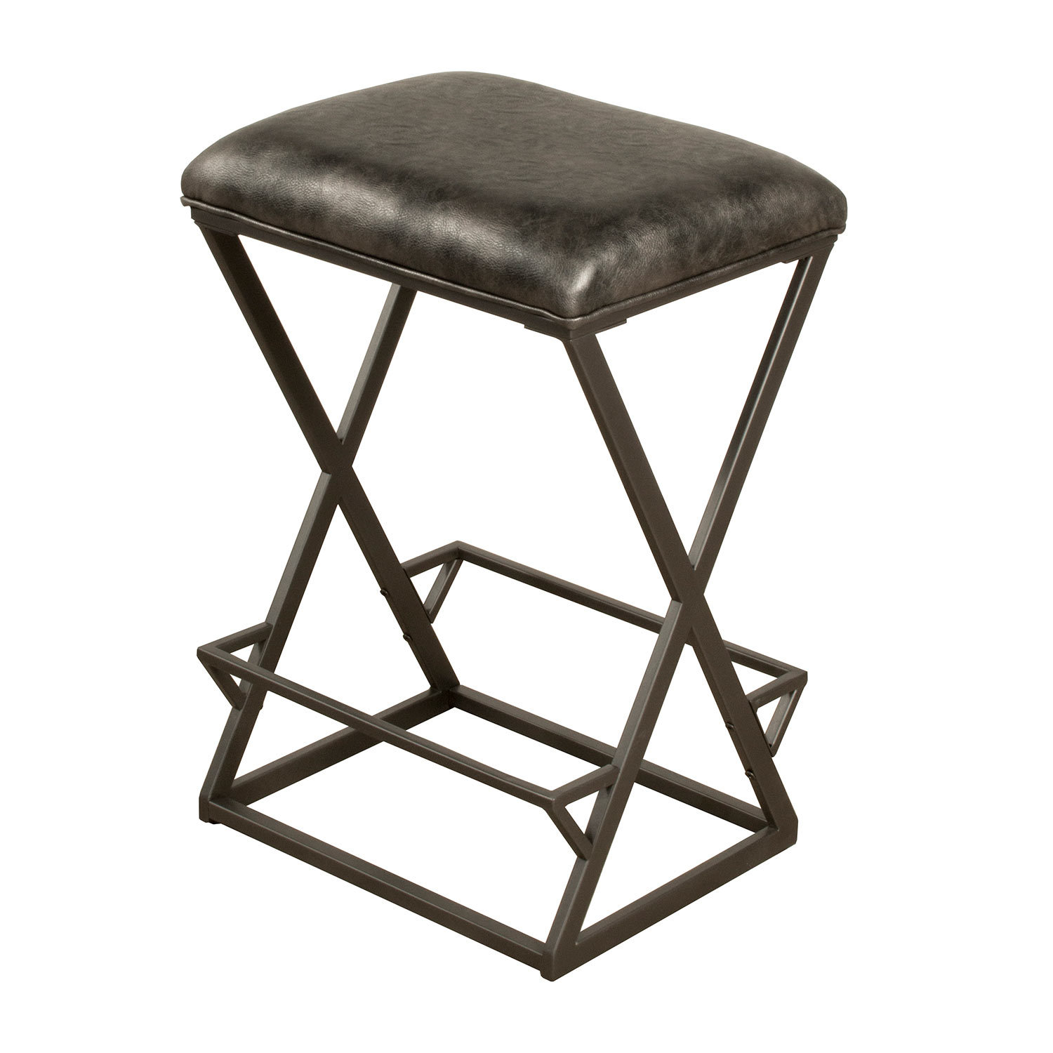 Hillsdale Kenwell Backless Non Swivel Bar Stool Charcoal