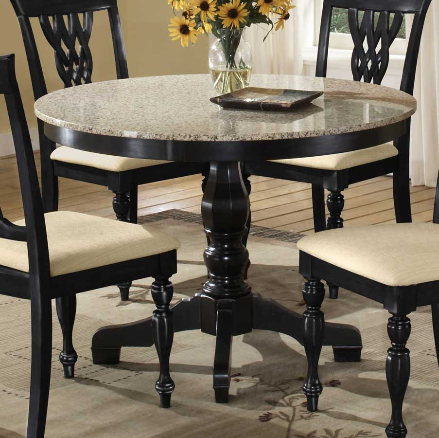 Hillsdale Embassy Round Pedestal Table With Granite Top - White pedestal table with leaf