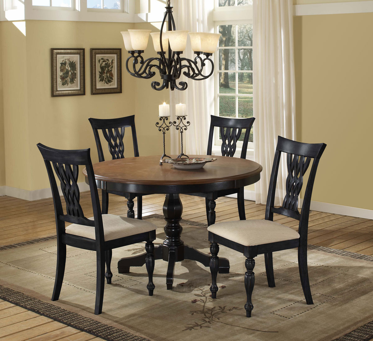 Hillsdale Embassy Round Pedestal Dining Table Rubbed Black - Round pedestal dining table set with leaf