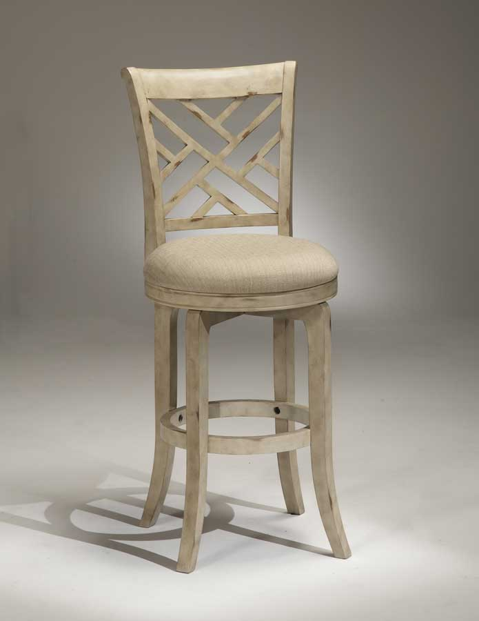 Hilale Garden Back Swivel Wood Bar Stool Antique White