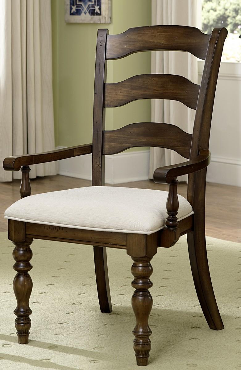 Pine Island Ladder Back Arm Chair   Dark Pine   Ivory
