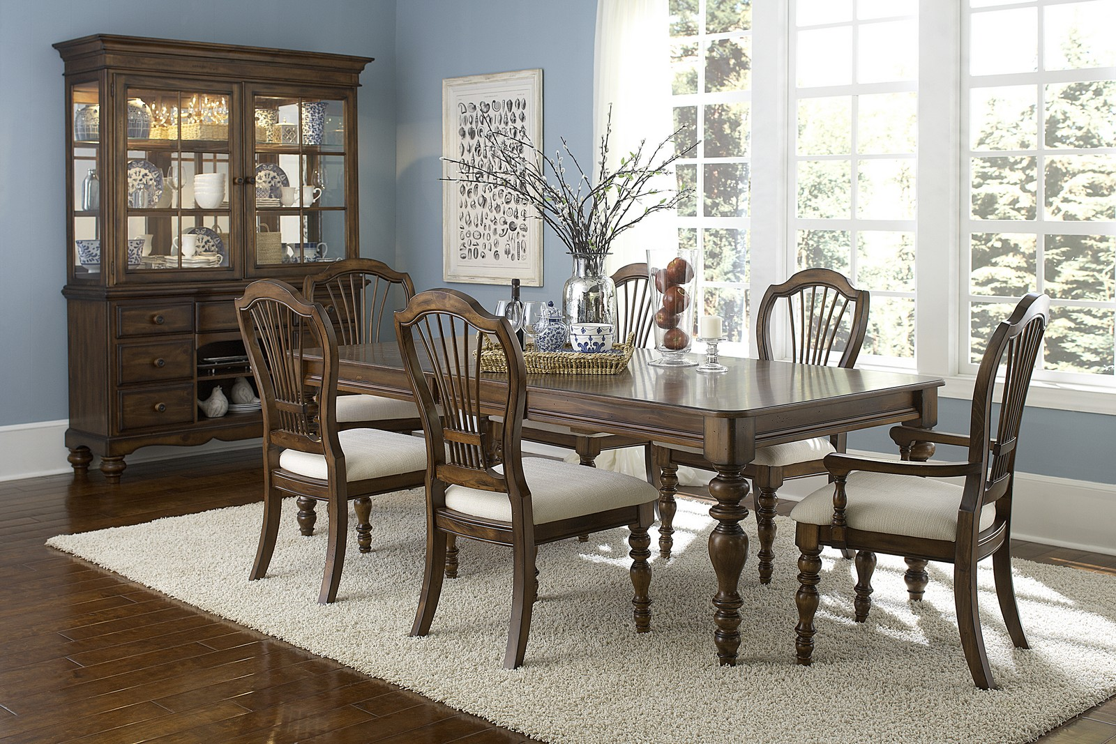 Hilale Pine Island 7 Pc Dining Set With Wheat Back Side Chairs And Arm
