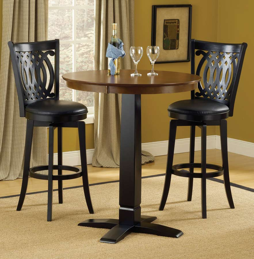 30 Round High Top Restaurant Cafe Bar Table And Cherry: Hillsdale Dynamic Designs Pub Table-Brown-Black 4975-840