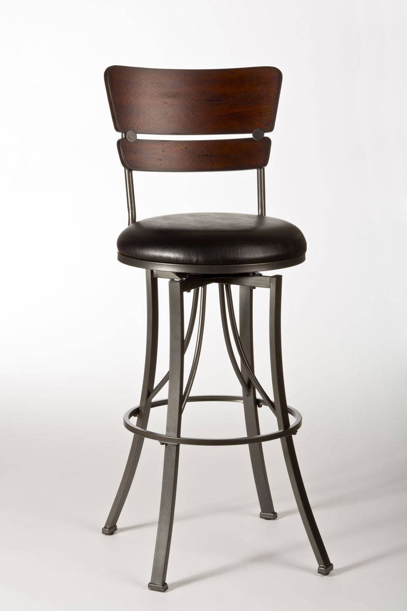 Hillsdale Santa Monica Swivel Bar Stool - Pewter/Distressed Cherry